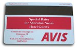 Avis advertising on back of Hotel Key Card